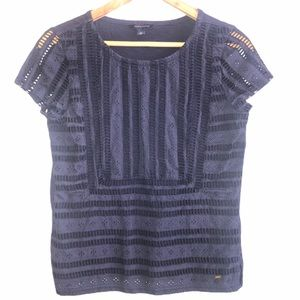 Tommy Hilfiger Blue Eyelet Crochet Boho Top